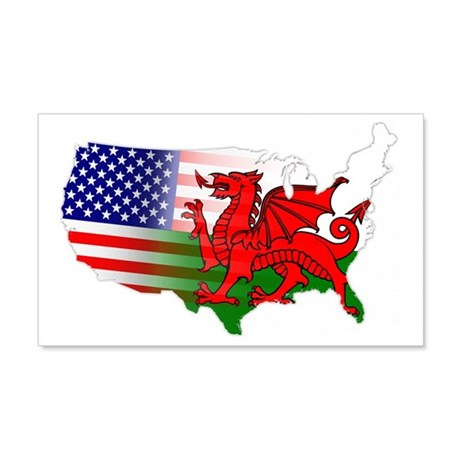 American Welsh Map 20x12 Wall Decal