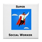 Super Social Worker Tile Coaster