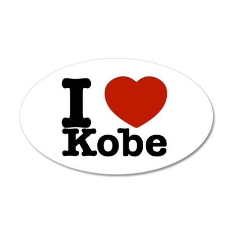 I Love Kobe 35x21 Oval Wall Decal