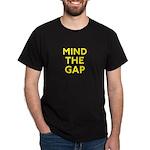MIND THE GAP warning yellow-on-black T
