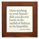 William Morris Quote Arts/Crafts Framed Tile