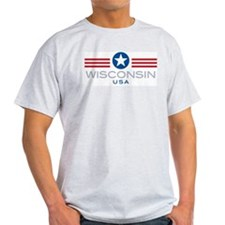 Wisconsin-Star Stripes: Ash Grey T-Shirt