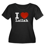 I Love Laila Women's Plus Size Scoop Neck Dark T-S