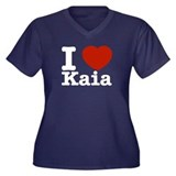 I Love Kaia Women's Plus Size V-Neck Dark T-Shirt