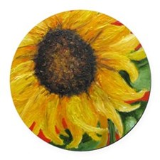 Sunflower with Red Round Car Magnet