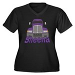Trucker Sheena Women's Plus Size V-Neck Dark T-Shi