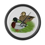 Grey Call Ducks Large Wall Clock