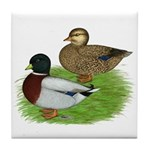 Grey Call Ducks Tile Coaster