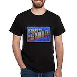 Fort Custer Michigan (Front) Black T-Shirt