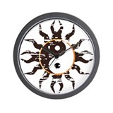 Yin Yang Tribal Sun Wall Clock