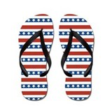 4th of July Stripes and Stars Flip Flops