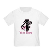 4th Birthday Pink Black Dot T