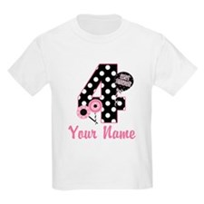 4th Birthday Pink Black Dot T-Shirt