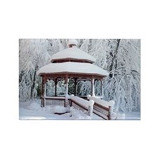 Gazebo surround by snow 9 Rectangle Magnet