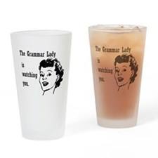 Grammar Lady is Watching You Drinking Glass