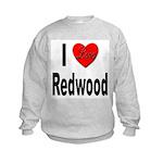 I Love Redwood (Front) Kids Sweatshirt