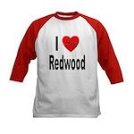 I Love Redwood (Front) Kids Baseball Jersey