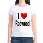I Love Redwood (Front) Jr. Ringer T-Shirt
