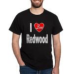 I Love Redwood (Front) Black T-Shirt