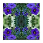 Blue Flower Reflection Tile Coaster