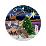 Xmas Magic &amp; Red Husky Ornament (Round)