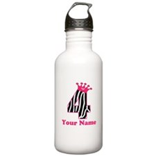 4th Birthday Zebra Water Bottle