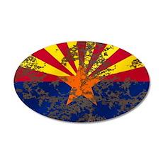 Arizona Grunge Flag 20x12 Oval Wall Decal