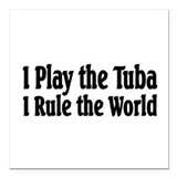 "Tuba Square Car Magnet 3"" x 3"""