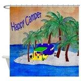 Happy Camper Trailer Shower Curtain