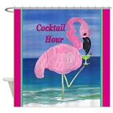 Flamingo Cocktail Hour Shower Curtain