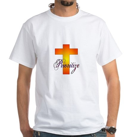 Prioritize Cross White T-Shirt