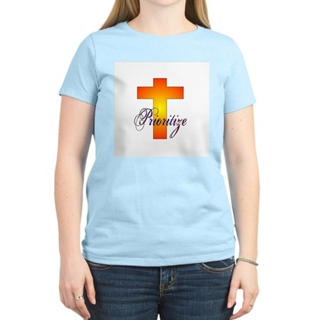 Prioritize Cross Women's Pink T-Shirt