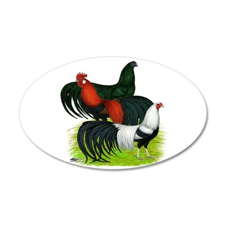 Long Tailed Roosters 35x21 Oval Wall Decal