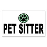Pet Sitter Green Stripes Rectangle Decal