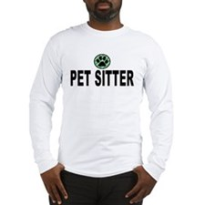 Pet Sitter Green Stripes Long Sleeve T-Shirt