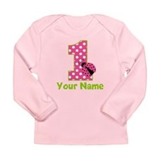 Pink Green Ladybug 1st Birthday Long Sleeve Infant