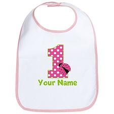 Pink Green Ladybug 1st Birthday Bib