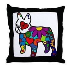 Frenchie Power Throw Pillow