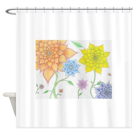 Colorful floral shower curtain by mirandasflorals for Colorful bathroom accessories
