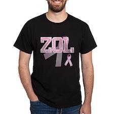 ZOL initials, Pink Ribbon, T-Shirt