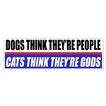 Cats Think They're Gods Bumper Sticker