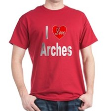 I Love Arches (Front) Black T-Shirt