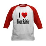I Love Mount Rainier (Front) Kids Baseball Jersey