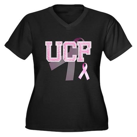 UCF initials, Pink Ribbon, Women's Plus Size V-Nec