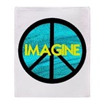 IMAGINE with PEACE SYMBOL.psd Throw Blanket