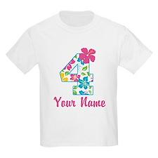 4th Birthday Tropical T-Shirt