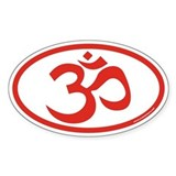 Om Sanskrit Symbol Euro Oval Sticker (Red)