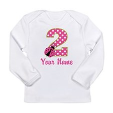 2nd Birthday Ladybug Pink Green Long Sleeve Infant