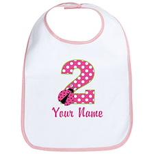 2nd Birthday Ladybug Pink Green Bib