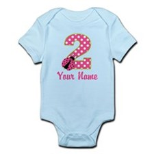 2nd Birthday Ladybug Pink Green Infant Bodysuit